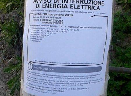 BARANO, ENEL ANNUNCIA INTERRUZIONE ENERGIA ELETTRICA PER DOMANI
