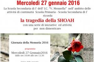 """L'ISTITUTO COMPRENSIVO """"MENNELLA"""" RICORDA LA TRAGEDIA DELLA SHOAH"""