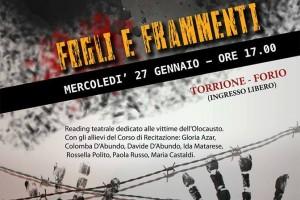 """""""FOGLI E FRAMMENTI"""", FORIO RICORDA LE VITTIME DELLA SHOAH CON UN READING"""